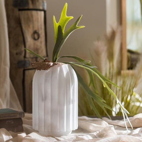 RusticReach Snow Mountain Hand Blown Glass Vase