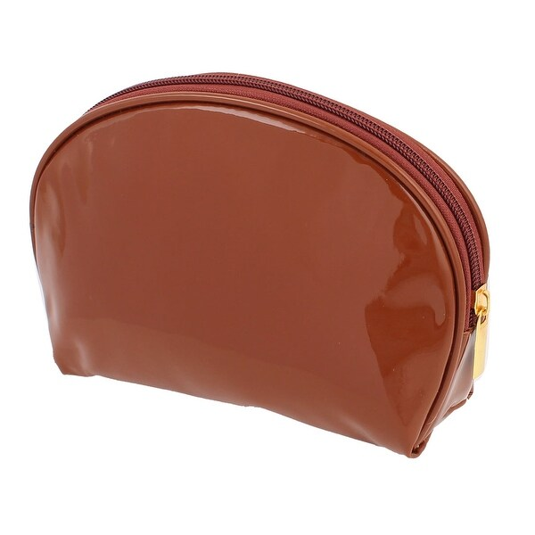 Unique Bargains Lady Patent Leather Money Cell Phone Makeup Holder Zipper Cosmetic Bag Brown