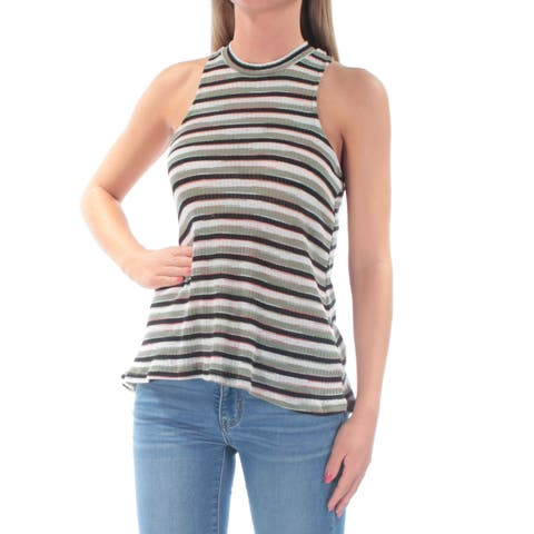 ALMOST FAMOUS Womens Olive Racerback Striped Sleeveless Crew Neck Top Size: XS