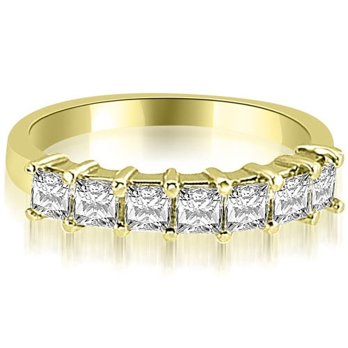 1.20 cttw. 14K Yellow Gold Princess Diamond 7-Stone Prong Wedding Band