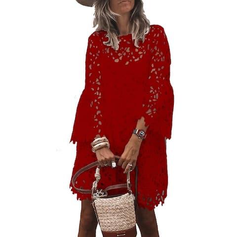 2Pc/Set Women's Lace Flare Sleeve Dress