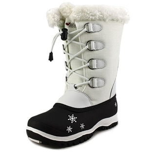 Baffin Shari Youth Round Toe Canvas White Snow Boot