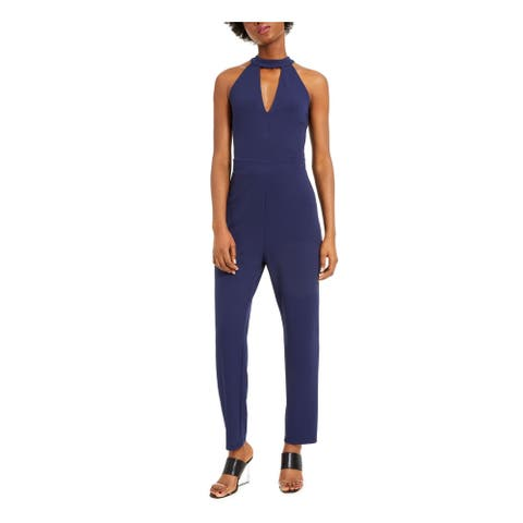 BAR III Womens Navy Sleeveless Keyhole Jumpsuit Size 8