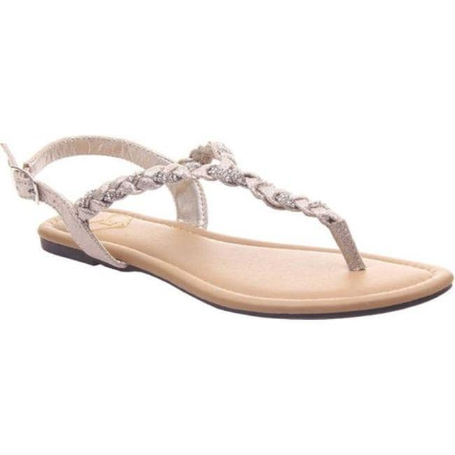 9c196254 Madeline Women's Charge Braided Thong Sandal Antique Gold Textile