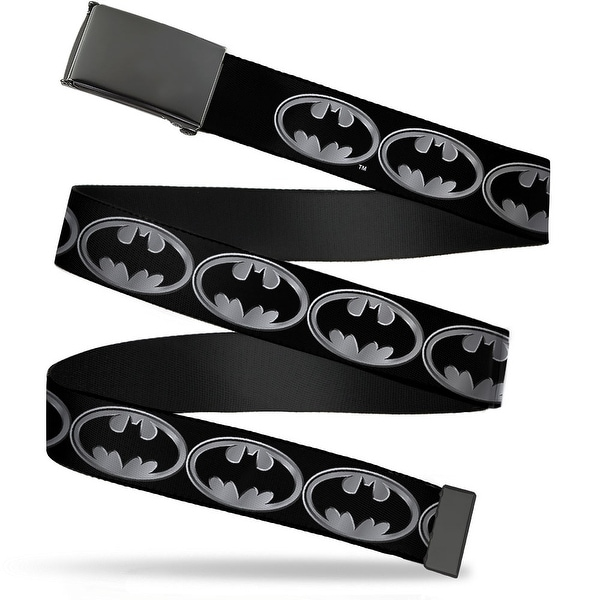 Blank Black Buckle Batman Shield Black Silver Webbing Web Belt