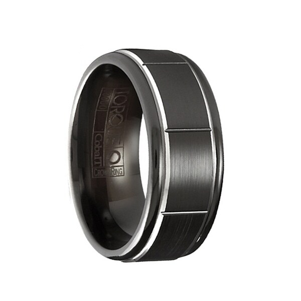 LOMBARDI Torque Black Cobalt Wedding Ring Brushed Raised Center Block Pattern with Round Edges by Crown Ring - 9 mm
