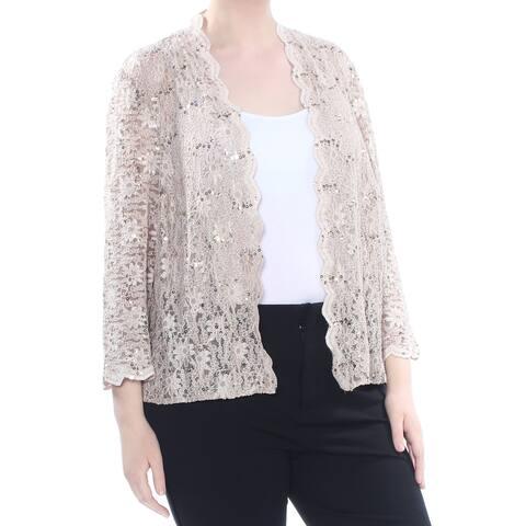 ALEX EVENINGS Womens Beige Sequined Lace Jacket Plus Size: 20W