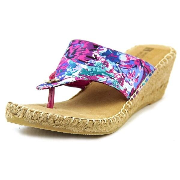 White Mountain Beachball Women Open Toe Canvas Purple Wedge Sandal