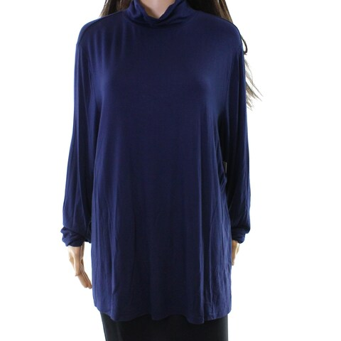 Sejour Blue Women's Size 2X Plus Mock Neck Long Sleeve Knit Top