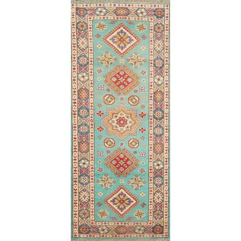 "Geometric Kazak Oriental Hallway Runner Rug Hand-knotted Wool Carpet - 2'3"" x 5'8"""