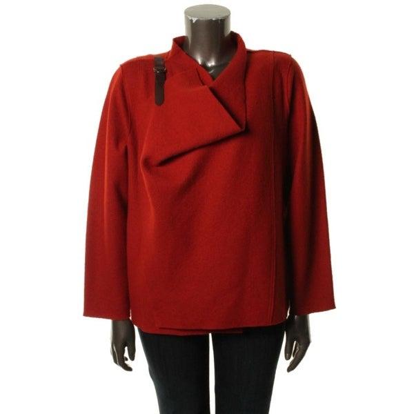 Eileen Fisher Womens Plus Jacket Wool Leather Trim