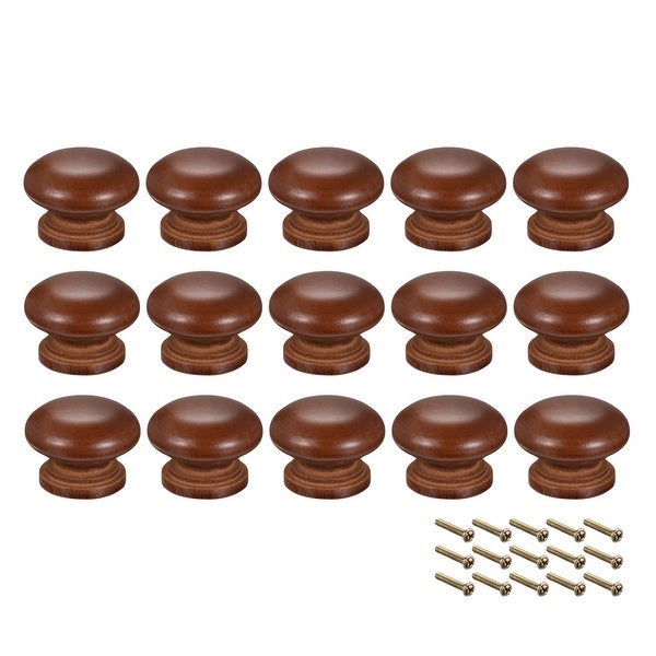Round Pull Knob Handle 35mm Dia Cabinet Furniture Bedroom Kitchen Drawer 15pcs - 35mmx25mm(D*H)-15pcs