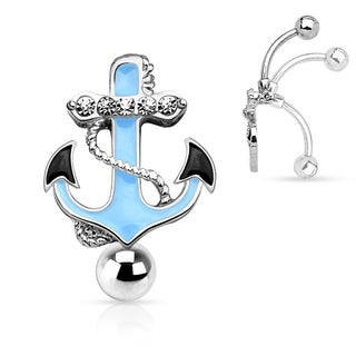 Gemmed Anchor Top Down Non Dangle 316L Surgical Steel Navel Ring