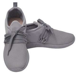 Qupid Adult Gray Lace-Up Closure Built-In Tongue Tubular Sneakers