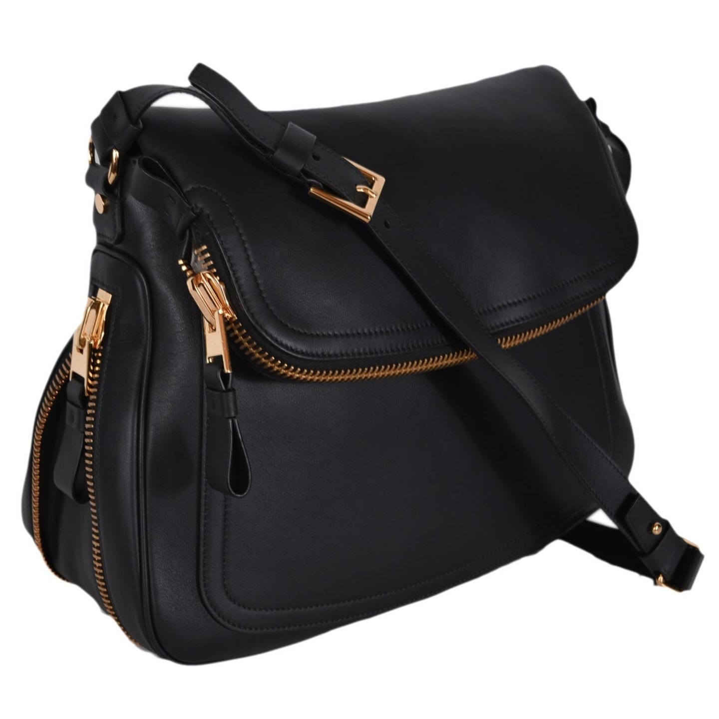 49a72d674 Shop Tom Ford Black Leather Large JENNIFER Crossbody Saddle Bag ...