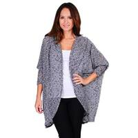 Simply Ravishing Women's 3/4 Sleeve Texture Knit Open Batwing Cardigan - Black/White