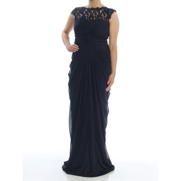 6a55f4c67f Shop ADRIANNA PAPELL Womens Navy Ruched Lace-trim Gown Sleeveless Boat Neck  Full-Length Evening Dress Size  6 - On Sale - Free Shipping On Orders Over   45 ...