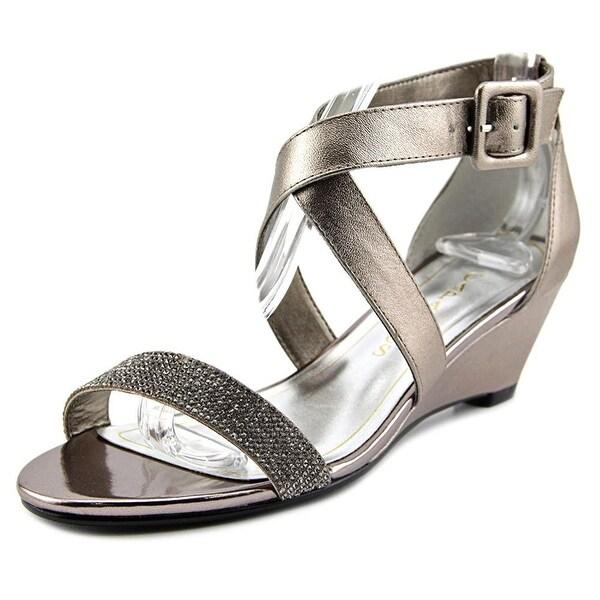 Caparros Blair Women Open Toe Synthetic Silver Wedge Heel