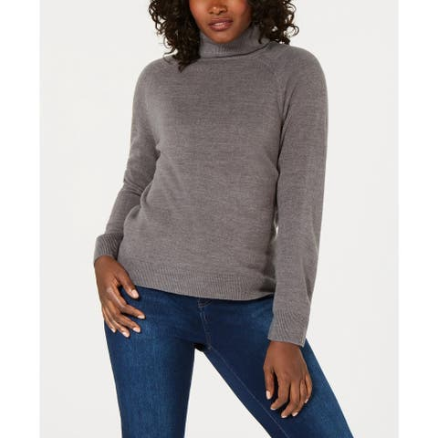 Karen Scott Women's Petite Luxsoft Turtleneck Sweater Charcoal Size Petite Small - Petite Small