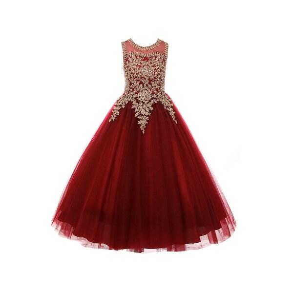 df574ff3ed3a Little Girls Burgundy Gold Rhinestone Cording Illusion Flower Girl Dress