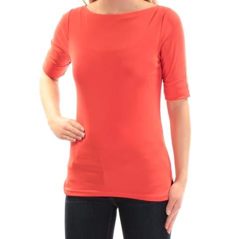 RALPH LAUREN Womens Red Short Sleeve Jewel Neck Top Size S