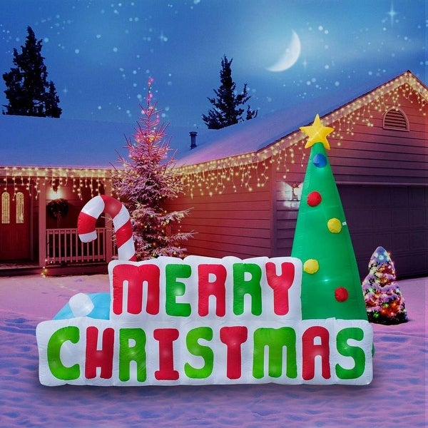Holidayana Christmas Inflatable Giant 8 Ft. Merry Christmas Sign Inflatable Featuring Lighted Interior