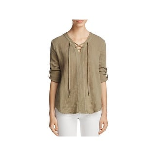 Side Stitch Womens Casual Top Lace-Up V-Neck - l