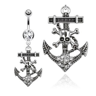 Pirate Anchor Dangle Navel Belly Button Ring with Double CZ 316L Surgical Steel