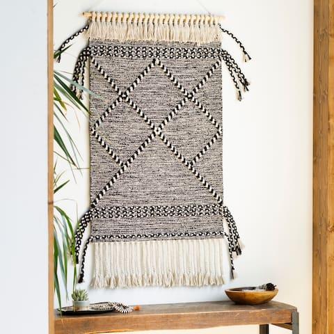 """Haloui Hand Woven 24 x 36 Boho Tassel Wall Tapestry - 24"""" x 36"""""""