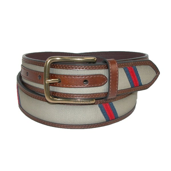 Tommy Hilfiger Men's Leather with Fabric Inlay Casual Belt