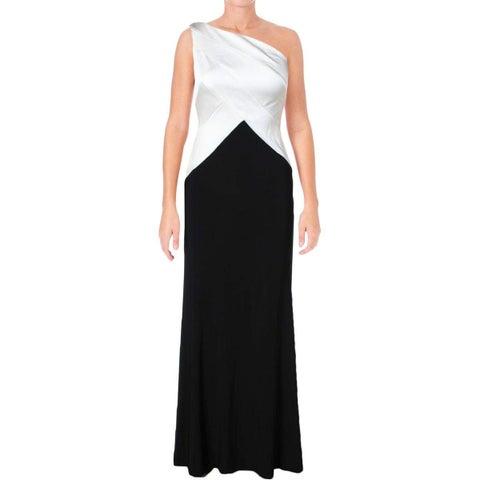 Lauren Ralph Lauren Women's Ventana Colorblock One Shoulder Formal Dress Black 8