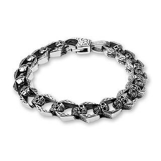 """Linked Skulls Stainless Steel Bracelet - 8.25"""" (Sold Ind.)"""