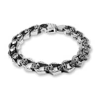 "Linked Skulls Stainless Steel Bracelet - 8.25"" (Sold Ind.)"