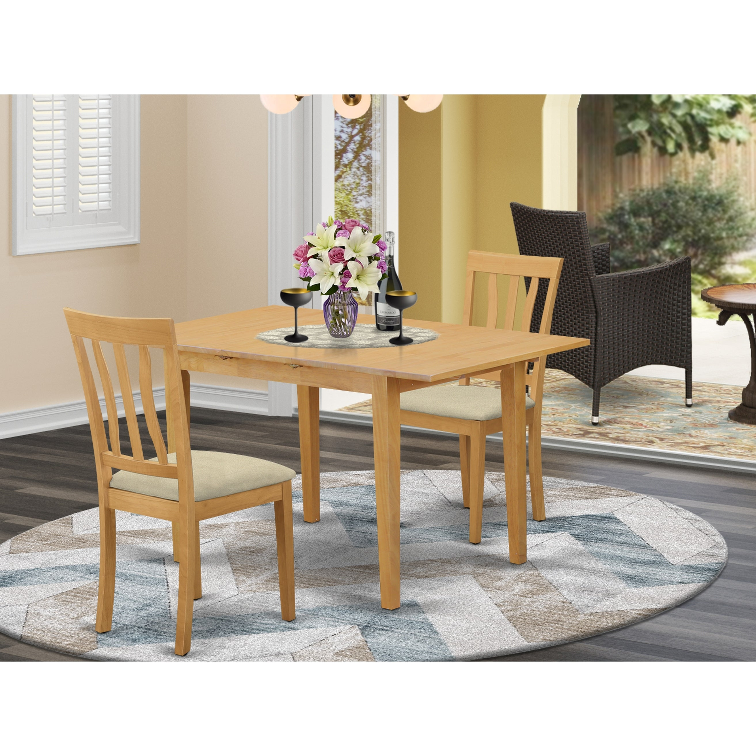 Shop Noan3 C 3 Piece Dining Table Set Small Dining Table And 2 Kitchen Chair Oak Overstock 14366576 Wood Seat