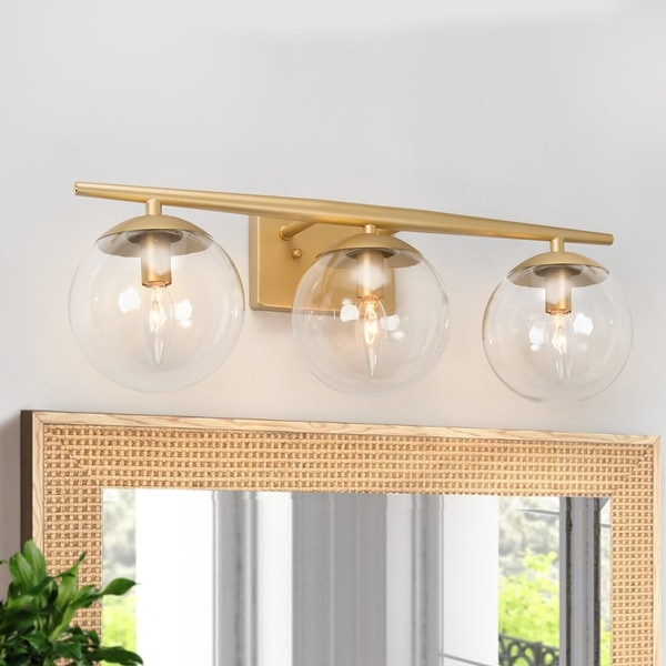 """Modern 3-light Bathroom Vanity Lights Gold Wall Sconce for Powder Room - L22""""x H8.5""""x E7.5"""". Opens flyout."""