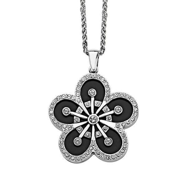 Van Kempen Art Deco Swarovski Elements Crystals & Black Enamel Flower Pendant in Sterling Silver - White