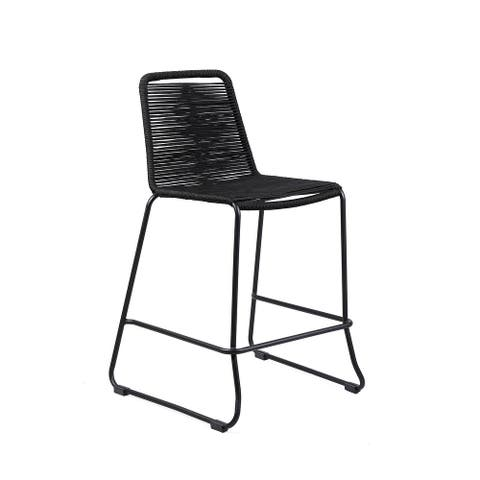 """Shasta Outdoor Metal and Rope 30"""" Bar Height Stool"""
