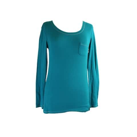 Jenni Juniors Turquoise Long-Sleeve Ribbed Pocket Sleep Tee M