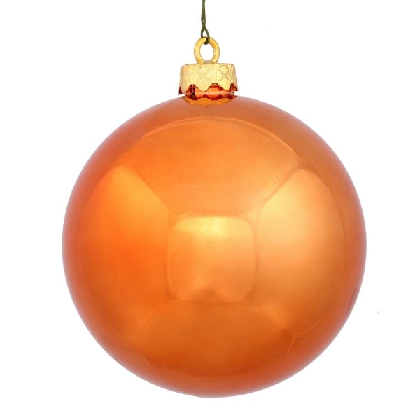 "Shiny Burnt Orange UV Resistant Commercial Shatterproof Christmas Ball Ornament 6"" (150mm)"