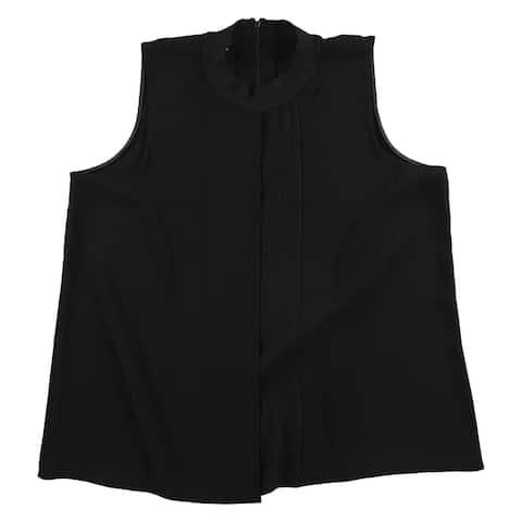 Alfani Womens Pleated Knit Blouse, black, 18