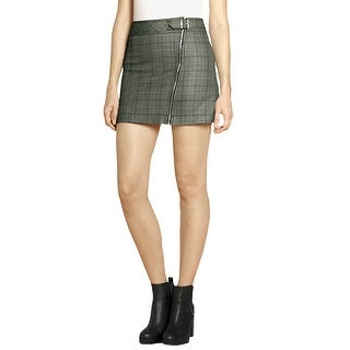 Allegra K Woman Zipper Monochrome Checked Biker Mini Skirt - gray - XL