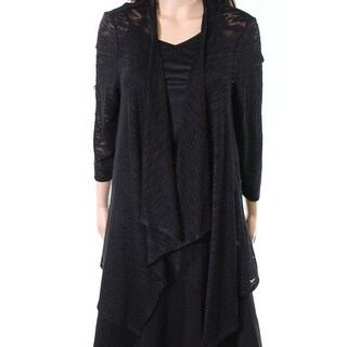 John Paul Richard NEW Black Womens Size XL Slub Knit Cardigan Sweater