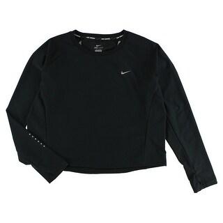 Nike Womens Run Free Long Sleeve Crop Crew Black - black/reflective silver - XL