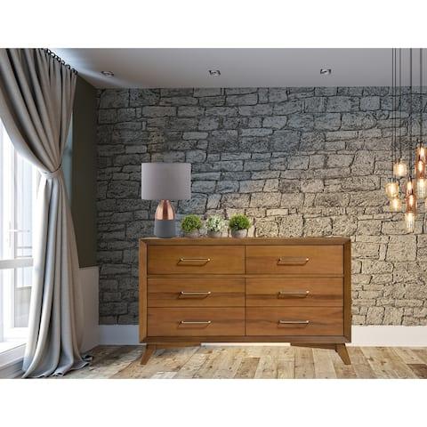 Pio Mid Century Wooden Dresser With 6-Drawers In Walnut