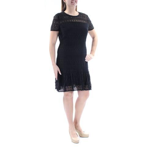 TAHARI Womens Black Short Sleeve Above The Knee Sheath Dress Size 0
