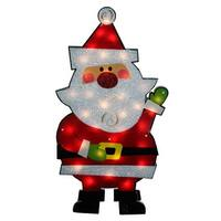 "30"" Standing Tinsel Santa Claus Lighted Christmas Outdoor Decoration - Clear Lights"