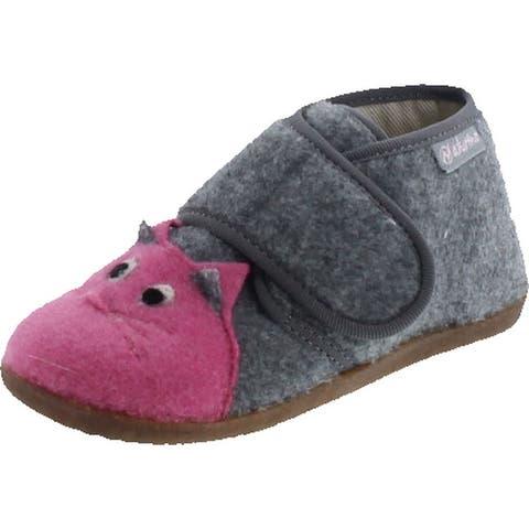 Naturino Girls Pillow Fashion Wool Slippers - Gray/Pink