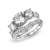 Bling Jewelry .925 Silver Vintage Style 3 Stone CZ Wedding Engagement Ring Set