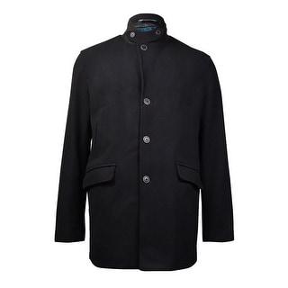 Perry Ellis Men's Wool Blend Overcoat (XL, Black) - XL