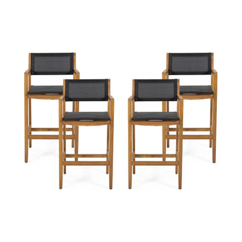 Fairfax Outdoor Acacia Wood Barstools with Outdoor Mesh (Set of 4) by Christopher Knight Home